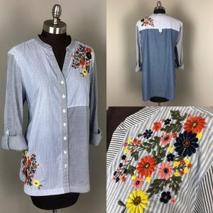NWT Style & Co Striped Embroidered Floral Blouse